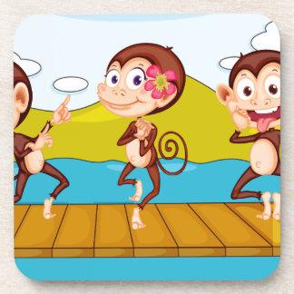 3 monkeys drink coaster