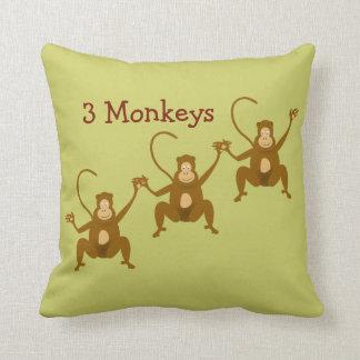 3 Monkeys Cute Cartoon Zoo or Jungle Animals Cushion