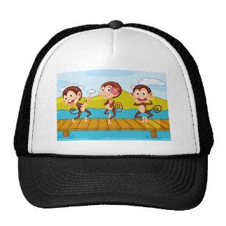 3 monkeys mesh hat