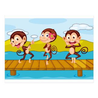 3 monkeys postcard