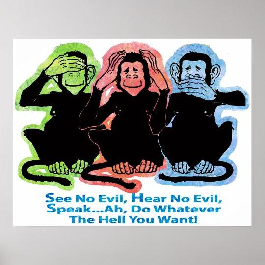 3 Monkeys Poster