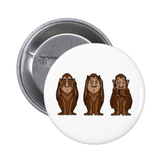 3 Monkeys, See no evil, Hear no evil, See no evil 6 Cm Round Badge
