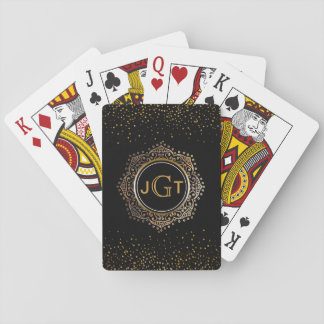 3 Monogrammed Initials | Chic Gold Confetti Black Playing Cards