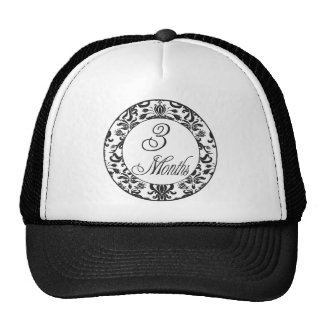 3 Months Black Damask Milestone Hat