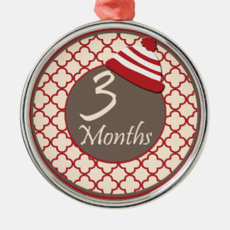 3 Months Sock Monkey Milestone Christmas Tree Ornament
