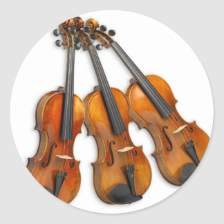 3 MUSICAL VIOLINS CLASSIC ROUND STICKER