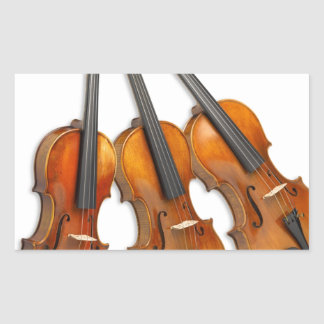 3 MUSICAL VIOLINS RECTANGULAR STICKER