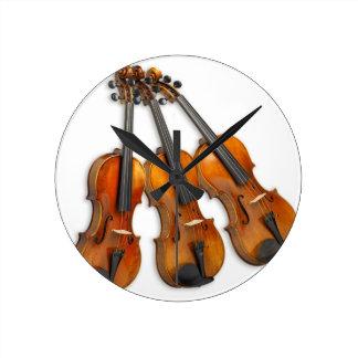 3 MUSICAL VIOLINS ROUND CLOCK