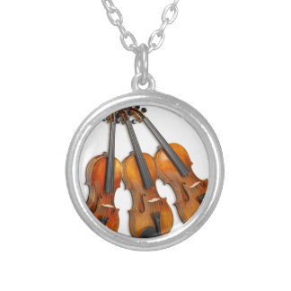3 MUSICAL VIOLINS SILVER PLATED NECKLACE