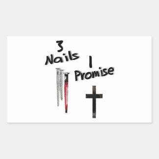 3 Nails-1 Promise Rectangular Sticker