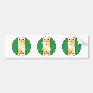 3 NIGERIA Gold Bumper Sticker