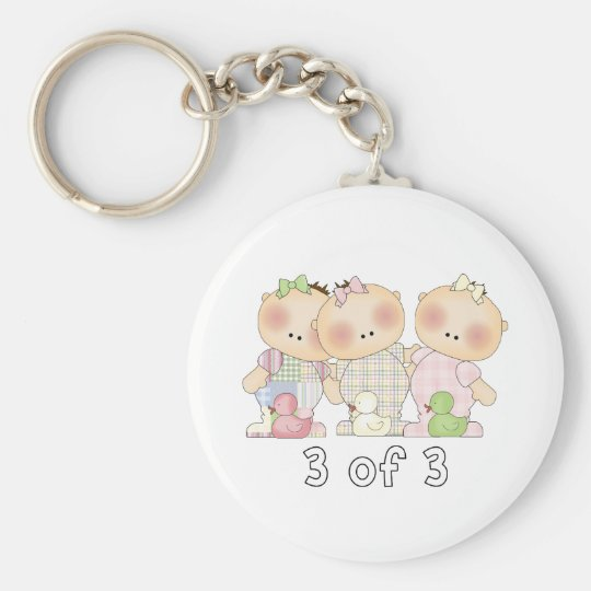 3 of 3 Triplet Cuties Basic Round Button Key Ring