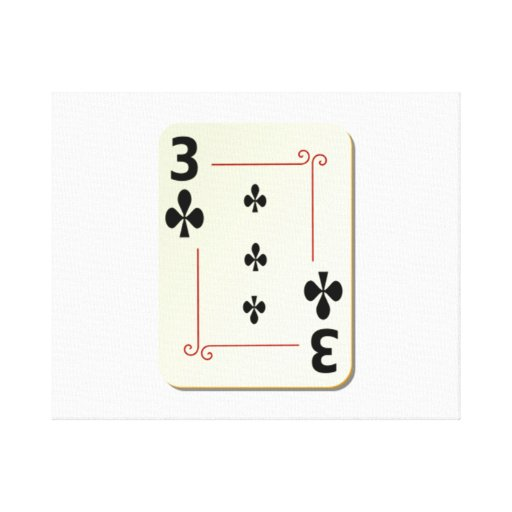 3 of Clubs Playing Card Canvas Prints