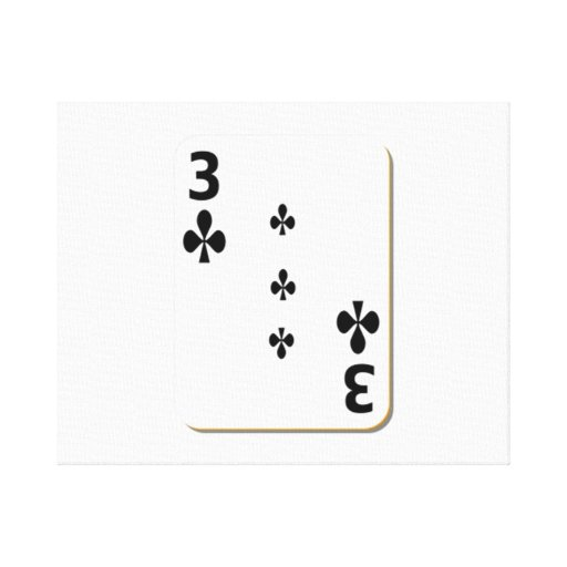 3 of Clubs Playing Card Canvas Print