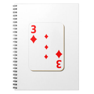 3 of Diamonds Playing Card Spiral Note Book