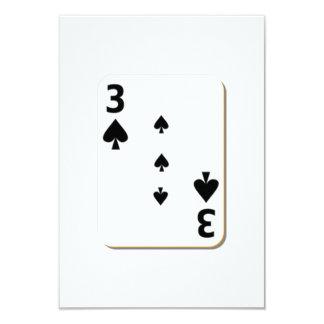 3 of Spades Playing Card 9 Cm X 13 Cm Invitation Card
