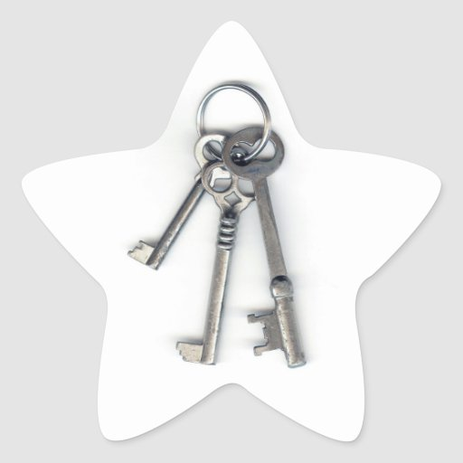 3 Old Keys Star Sticker