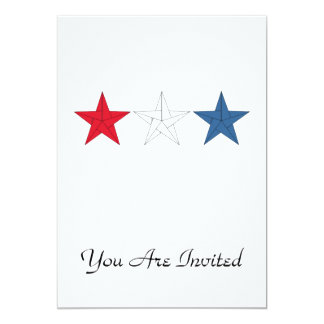 3 Origami Stars – Red, White, and Blue 13 Cm X 18 Cm Invitation Card