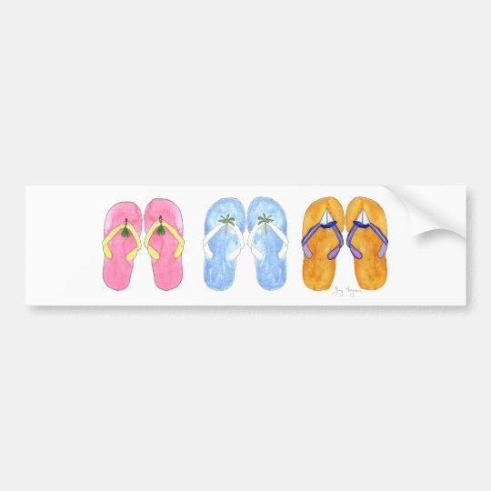 3 Pairs of Flip-Flops Bumper Stickers