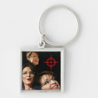 3 Palin Bullseye Silver-Colored Square Key Ring