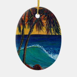 3 palm sunset ceramic oval decoration