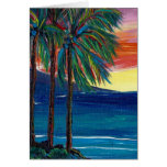 3 palm sunset greeting card