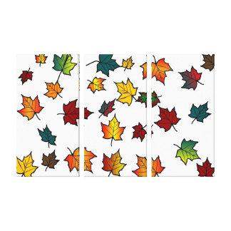 3 panel autumn leaves on white canvas prints