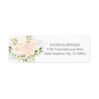 #3 Peach Watercolor Roses Return Address|