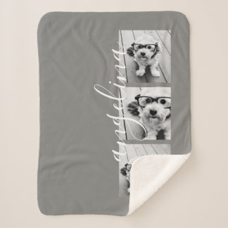3 Photo Collage CAN EDIT background COLOR Sherpa Blanket
