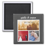3 Photo Collage Modern Save the Date Magnet