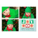 3 Photo Holiday Joy Snowflake Photo Card 13 Cm X 18 Cm Invitation Card