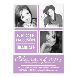 3 Photos African Violet Purple 2013 Grad Party Personalized Invites