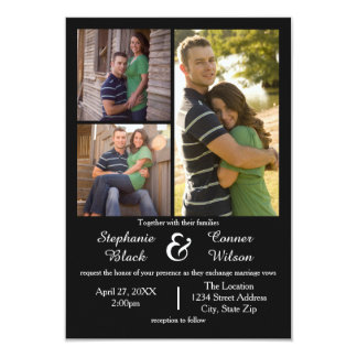 3 Photos Black - 3x5 Wedding Invitation