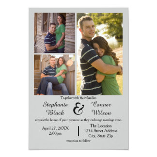 3 Photos Grey - 3x5 Wedding Invitation