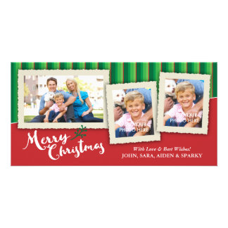 3 Picture Frames on Striped Background, Christmas Personalised Photo Card