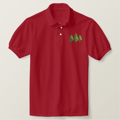 3 Pine Trees Embroidered Polo Shirt