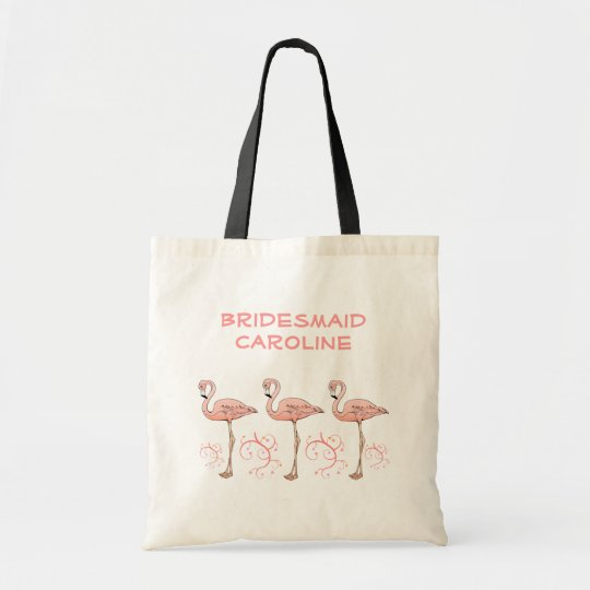 3 Pink Flamingos Beach Swirls Wedding Bridesmaids Tote