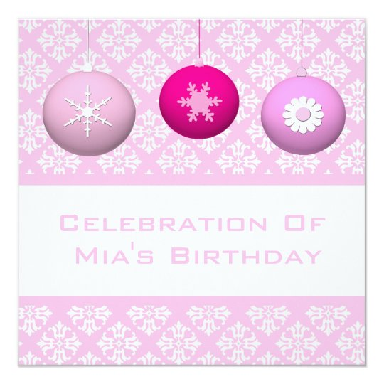 3 Pink Snowflake-Flower Ornaments Card