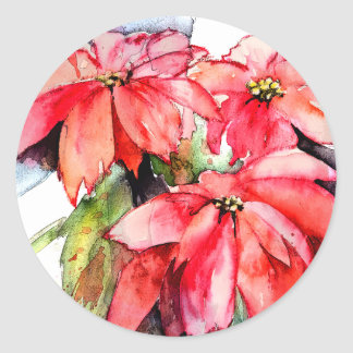 3 Poinsettias Christmas stickers