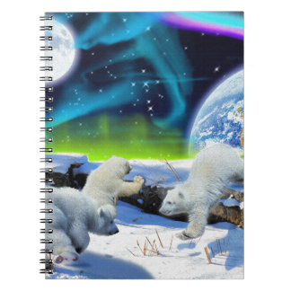 3 Polar Bear Cubs Playing in Snow - Earth Day Art Note Books