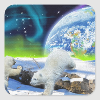 3 Polar Bear Cubs Playing in Snow - Earth Day Art Sticker