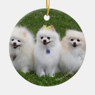 3 Pomeranians Sitting Christmas Ornament