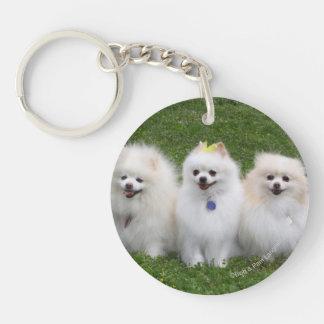 3 Pomeranians Sitting Double-Sided Round Acrylic Key Ring