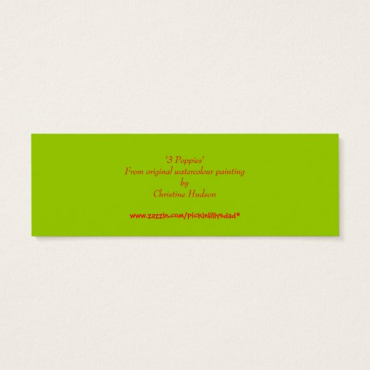 '3 Poppies' Small Bookmark Mini Business Card