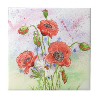 '3 Poppies' Tile