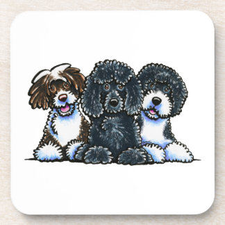 3 Portuguese Water Dogs Drink Coaster