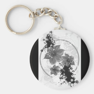 3 Pretty Flowers - B&W Infrared Basic Round Button Key Ring