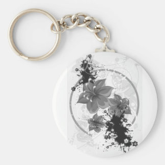 3 Pretty Flowers - B&W Infrared Basic Round Button Key Ring