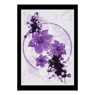 3 Pretty Flowers - Purple Poster