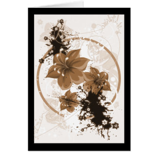 3 Pretty Flowers - Sepia Greeting Card